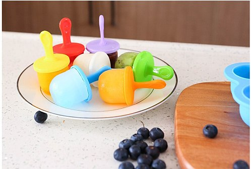 9 Pack Silicone Mini Ice Pops Mold Ice Cream Ball Lolly Maker Popsicle Molds Baby DIY Food Fruit Shake Ice Cream  Frozen Mold