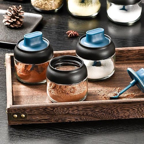 280ml Kitchen Glass Spice Jars With Lid Salt Pepper Shakers Herbs Soy Sauce Oil Bottle Kitchen Seasoning Tool with Label Paper