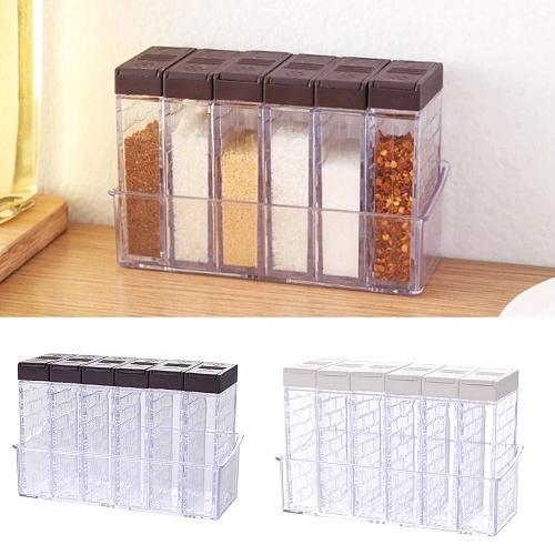 2/6Pcs/Set Spice Seasoning Box PP Salt Pepper Jars Organizer Organization Storage Box Spice For Kitchen Box Home X5K5