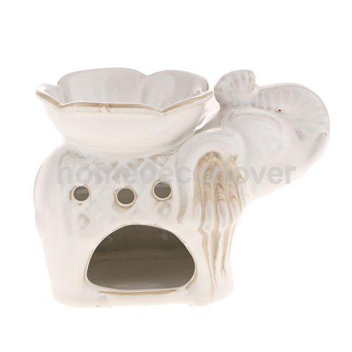 14cm Ceramic Elephant Oil Burner Assorted Incense Cones Burner Candle Holder 5 Colors