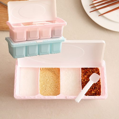 1Set Seasoning Box Condiment Storage Container Rack Spice Jar 4 Cells With Spoon