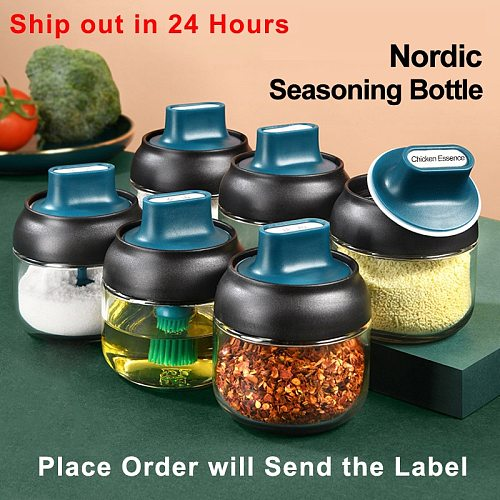 Kitchen Glass Spice Jar With Lid Salt And Pepper Shakers Set Seasoning Organizer Herbs Soy Sauce Oil Bottle With Label Paper