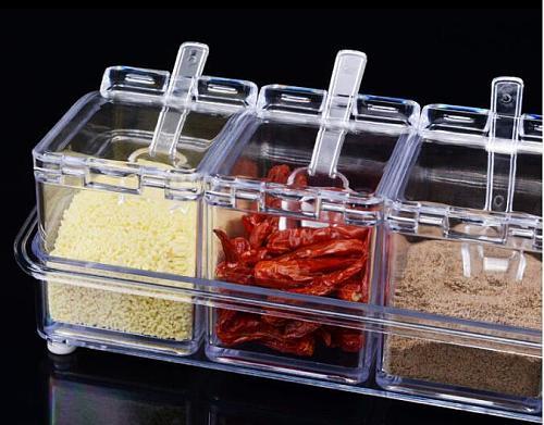 4pcs/lot New Kitchen Organizer Storage Boxes Spices Seasoning Jar Transparent Sugar Salt Bottle Kitchen Accessories OK 0631
