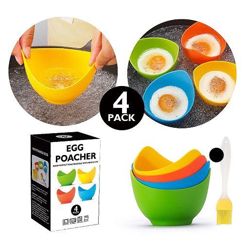 4pcs Egg Poacher Mold BPA Non-stick Silicone Egg Cooker Kitchen Accessories Cookware Steam Eggs Pancake