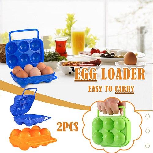 2pcs Portable 6 Eggs Plastic Container Holder Folding Storage Box Eggs Outdoor Camping Picnic Eggs Box Case Kitchen Organizer