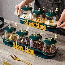 4pcs Glass Seasoning Jar Set with Iron Shelf Luxury Green Salt Sugar Chili Storage Jar Home Soy Sauce Vinegar Bottle Combination