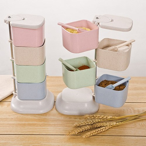 Seasoning Storage Boxes Spice Jar  Spices Storager Wall Hanging Rotating Kitchen Condiment Box Kitchen Organization Tools