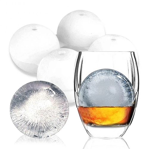 4 Cavity Whiskey Ice Cube Maker Mold Creative Silicone Round Hockey Whiskey Ice Cube Ball Mould Kitchen Gadgets Bar Accessories