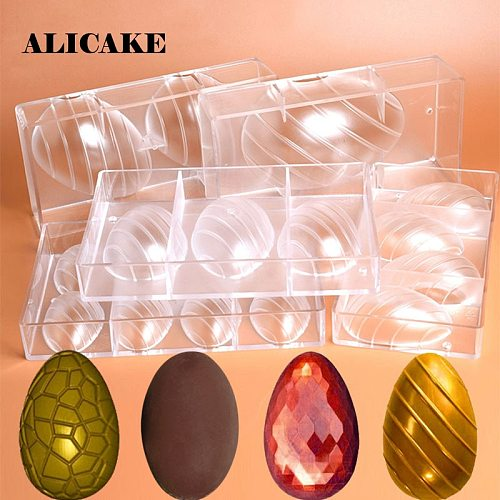 Happy Easter Egg Chocolate Mold Polycarbonate Thick Chocolate Cake Bunny Mould Cracked Smooth Egg Decation Baking Bakery Tools