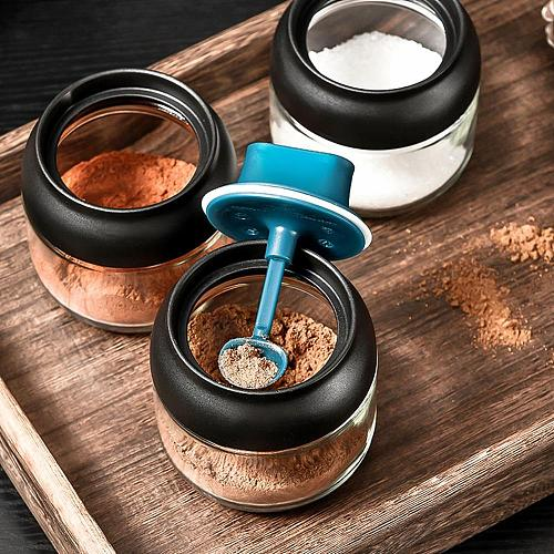 1PC Moistureproof Glass Spice Jars Honey Pots Oil Bottle Salt Shake Multifunction Spoon Brush Lid Integrated Seasoning Organizer