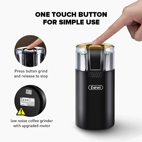 GEVI Mini Electric Coffee Grinder,Compatible Herbs&Nuts&Coffee Beans&Spices&Grains Grinding machine,150W One-key fast grinder