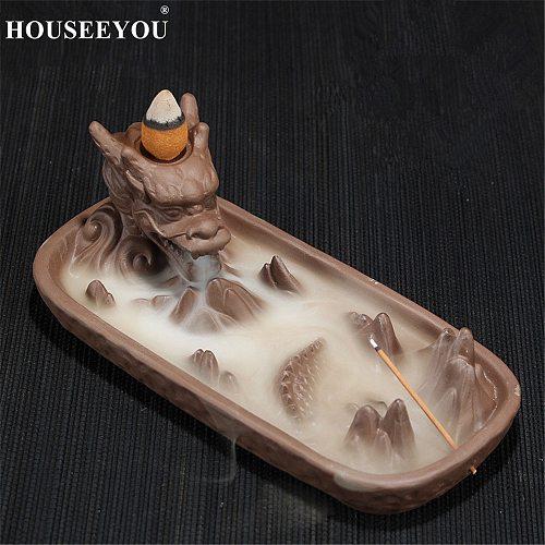 10Pcs Incense Cones + Ceramic Dragon Aroma Smoke Censer Home Decor Creative Smoke Backflow Incense Burner Incense Stick Holder