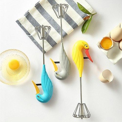 Swan Self Turning Manual Whisk Egg Beater Semi-Automatic Handheld Pressing Cream Stirring Whisk Baking Tools