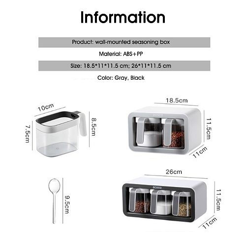 Wall Mount Spice Rack Organizer Sugar Bowl Salt Shaker Seasoning Container Spice Boxes With Spoons Kitchen Supplies Storage Set