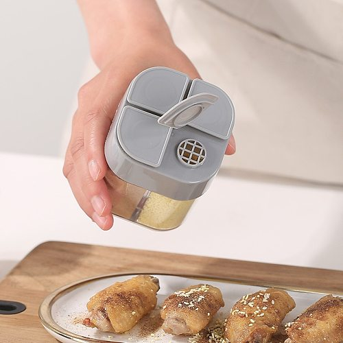 4 In 1 Seasoning Bottle Plastic Flap Seasoning Tank Sealing Salt Tank Combination Moisture Proof Household Kitchen Storage Box