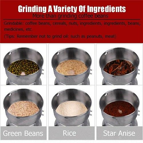 EU 220V Electric Coffee Bean Grinder Spice Coffee Nut Seed Herb Grinder Crusher Mill Blender Home Travel Mill Machine