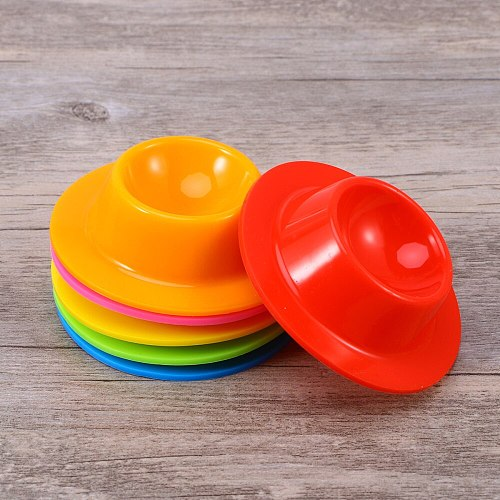 6pcs Egg Cups Food Grade Silicone Dishwasher Safe Egg Stand Holder Kitchen Supplies (Red/Pink/Orange/Yellow/Blue/Green)