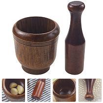 1 Set Wooden Mortar and Pestle Retro Grinding Bowl Practical Garlic Crush Pot