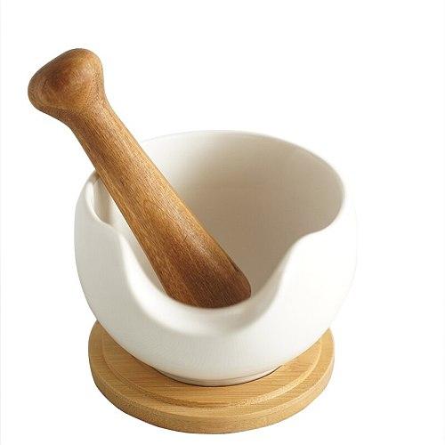 Wooden Mortar Pestle Pedestal Bowl gifts Kitchen Garlic Pugging Pot Herb Mills Mincers Home gallipot Mashed grinding Tools JJ413