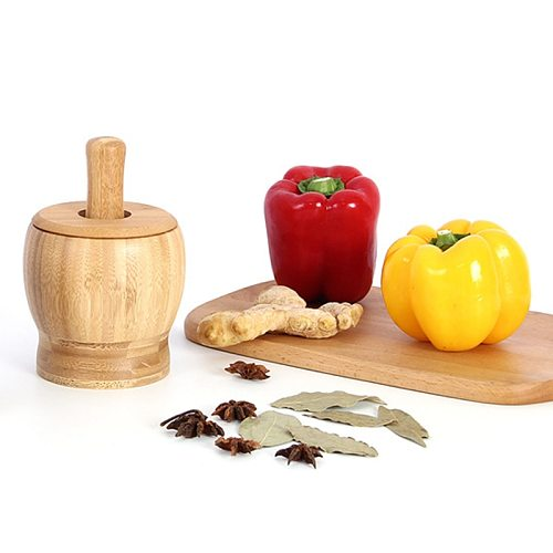 Bamboo Wood Mortar and Pestle Set with Lid Spoon Grinder Press Crusher Masher for Pepper Garlic Herb Spice FPing