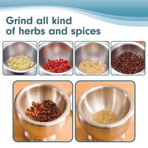 LMETJMA Stainless Steel Spice Grinder With Mortar and Pestle Herbs Spice Grinder Bowl Seasoning Mill Pill Crusher KC0245