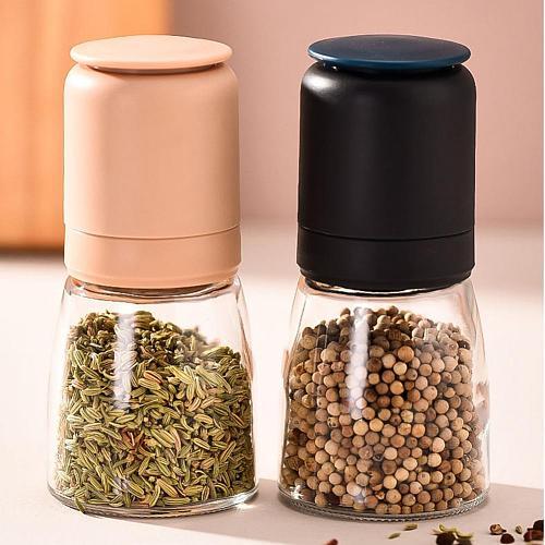 Stainless Steel Household Handmade Salt Pepper Spice Mill Grinder Glass Bottle