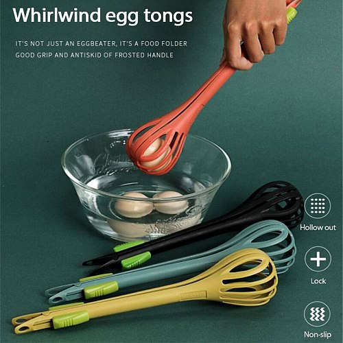 Portable 3-in-1 Egg Whisk Tongs Manual Salad Stirring Stick Creative Multi-Use Kitchen Food Clip Cream Egg Beaters Baking Tools