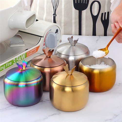 1PC Stainless Steel Spice Jar with Cover Creative Seasoning Pot Pepper Shaker Storage Bottle Can Organizer Kitchen Utensils