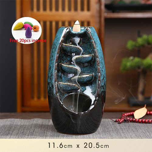 With 20Pcs Cones Free Gift Waterfall lncense Burner Ceramic Incense Holder Home Decor Best Christmas Gift