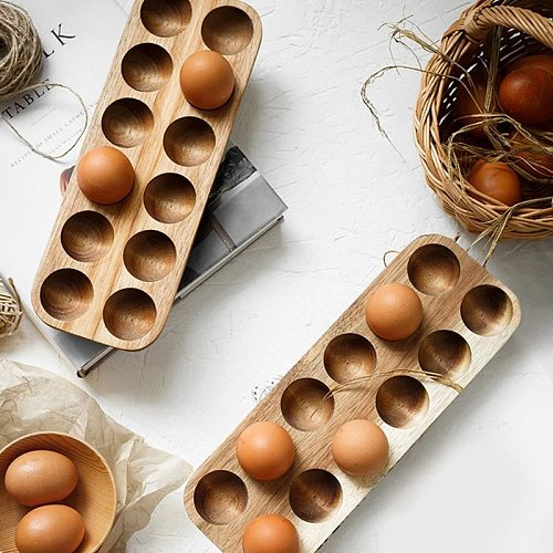Kitchen Containers Acacia Wood Double-Row Egg Storage Box Household Refrigerator Egg Rack Accessories Container Storage Kitchen