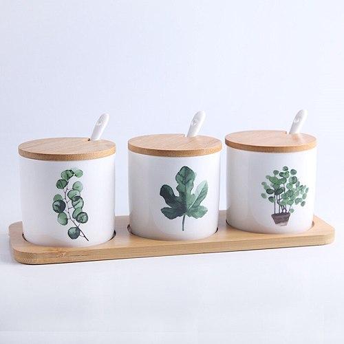 Nordic Ceramic Seasoning Bottle Set Household Green Planting Spice Jar Condiment Salt Sugar Storage Tank Kitchen Cooking Tools