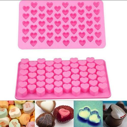 55 Cavity Gummy Love-heart Chocolate Silicone Ice Cube Mold Fondant Tool Candy Eco-Friendly Tray Christmas Baking Mold Tools