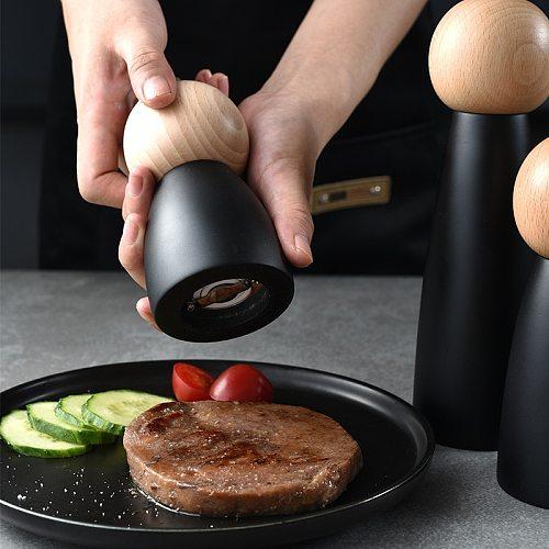 Wooden Pepper Mill Spice Nuts Mills Handheld Seasoning Salt Grinder Bottle Ceramic Core Home Decor Kitchen Cooking BBQ Tools