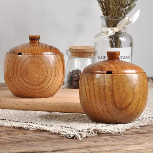 Janpanese Style Concise Solid Wood Durable Wooden Seasoning Pot Spice Jar with Lid Kitchen Wood Spice Jar Coffee pot