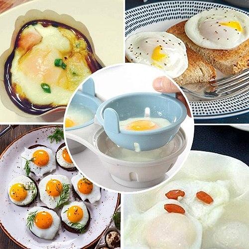 Microwave Double Egg Poacher Maker Poached Eggs Cooker Egg Boiler Steamer Kitchen Gadget Dishwasher Heat Resistant Egg Poacher