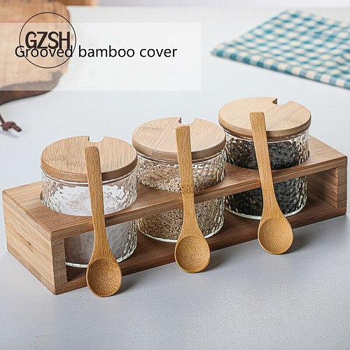 Kitchen Condiment Jars salt Sugar Can Food Storage Containers with Bamboo Lid and Wooden Spoon for Tea Coffee Spice