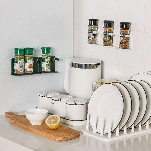 5pcs/Row Spice Rack Organizer Wall Cabinet Door Hanging Spice Jars Clip Hook Set Storage Holder Gripper Kitchen Accessories Tool