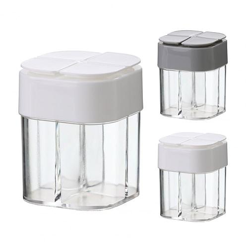 Seasoning Box Wide Application 4 in 1 PP 4 Compartment Mouldproof Seasoning Jar for Kitchen