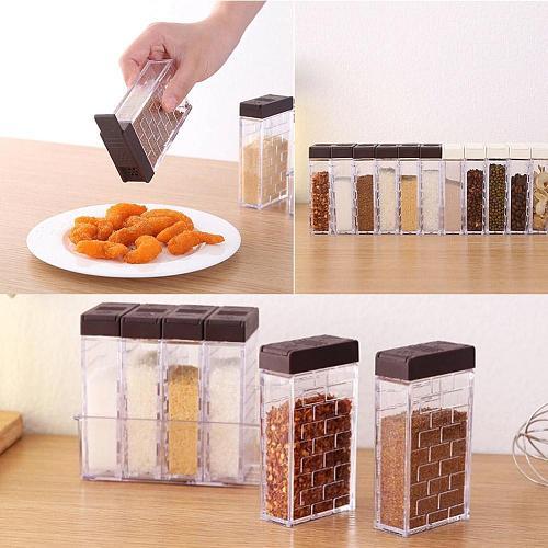 6pcs/Set Spice Storage Spice Jar Rack Seasoning Box and Kitchen Tools Storage Bottle Spice Sprayer Salt Pepper Container J8G2