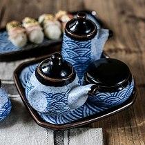 5pcs Japanese Retro Ceramic Seasoning Jar Set Modern Home Kitchen Soy Sauce Pot Toothpick Holder Pepper Bottle Rectangular Tray