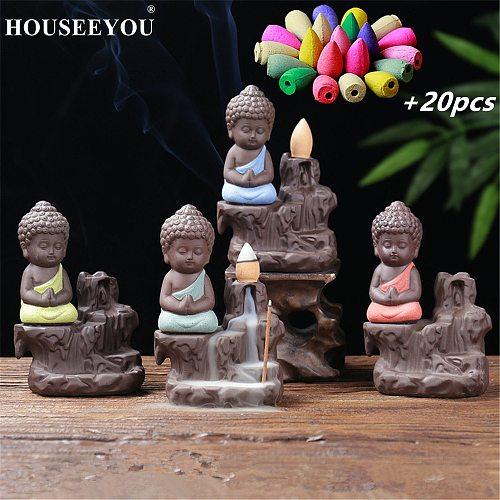 The Little Monk Censer Buddha Incense Holder Backflow Incense Burner +20PCS Waterfall Aroma Fragrance Cones Home Decor Stove