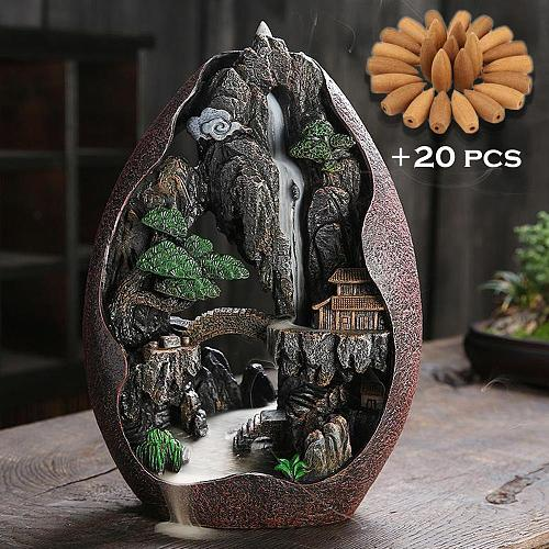 Cerative Resin Lofty Mountains And Flowing Water Backflow Incense Burner Smoke Waterfall Incense Sticks Holder +20 Pcs Cones