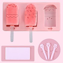 3Cell Silicone Ice Cream Mold DIY Freezer Juice Ice Tray Animal Shape Fruit Popsicle Mould With Lid Homemade Jelly Dessert Maker