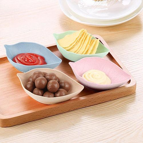 Leaves Shape Sauce Dishes Bowl Vinegar Seasoning Solid Soybean Dish Sauce Salt Snack Small Plate Kitchen Tool Kitchen Gadget Set