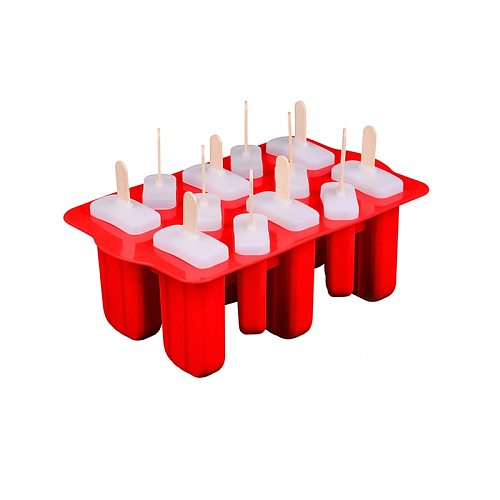12 Holes Silicone Ice Popsicle Mold with 12pcs Lids Ice Cream Maker with 12pcs Sticks DIY Ice Lolly Moulds Party Tool