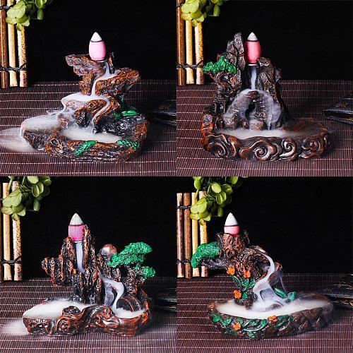 50Pcs Incense Cones + Backflow Incense Burner Incensory Buddha Statue Ceramic Aroma Smoke Censer Zen Room Incense Joss Holder