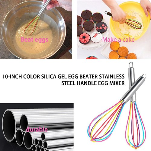 Colorful Silicone Whisk Frother Milk Cream Kitchen Utensils For Blending Stainless Steel Handle Mixer Stirring Tool Handheld