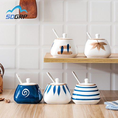 Japanese Style Ceramic Cruet Condiment Seasoning Jars Set for Spices Pepper Salt Shakers Holder Kitchen Storage Rack Organizer