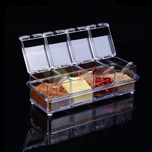 Four In One With Spoon Kitchen Organizer Storage Boxes Spices Seasoning Jar Transparent Sugar Salt Bottle Kitchen Accessories