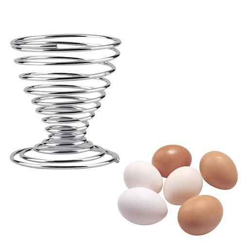 Stainless Steel Spring Wire Tray Boiled Egg Cups Holder Stand Storage Egg Cup Cooking Tool Kitchen Accessories